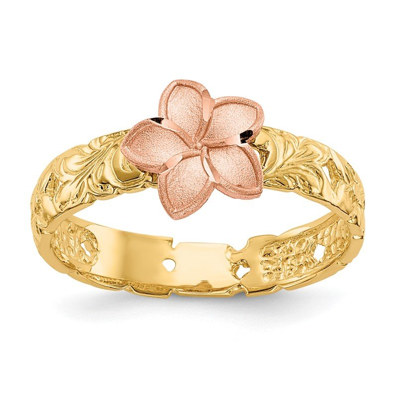 Quality Gold 14K Two Tone Plumeria Baby Ring