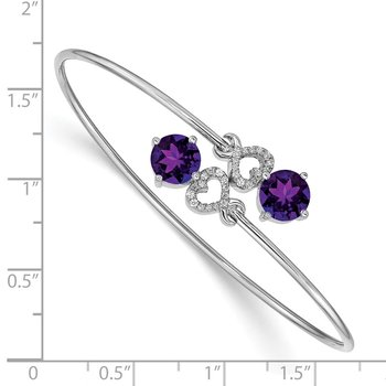 14k White Gold Amethyst and Diamond Flexible Bangle