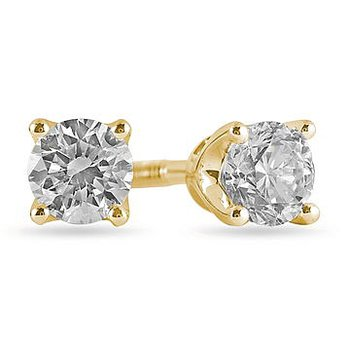 14K YG Diamond Stud E/R Tiara Coll. TDW 0.40 -for Moun
