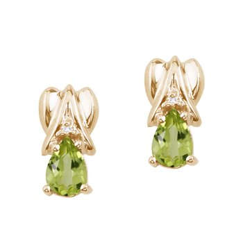 14k Yellow Gold Peridot and Diamond Pear Shaped Earrings