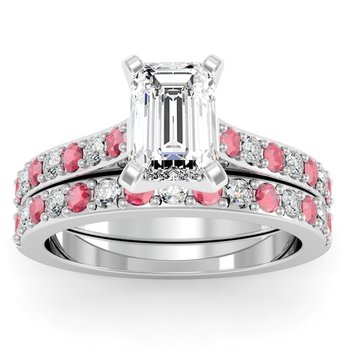 Pave Ruby & Diamond Cathedral Engagement Ring with Matching Wedding Band