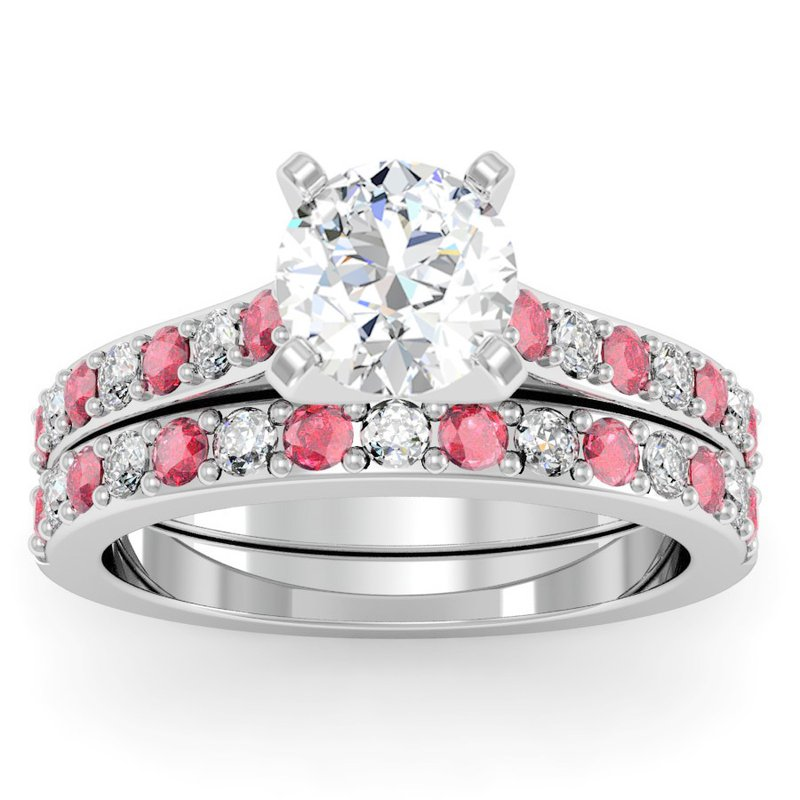 California Coast Designs Pave Ruby & Diamond Cathedral Engagement Ring with Matching Wedding Band