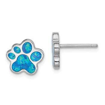 Sterling Silver Rhod-plated Creat Blue Opal Paw Print Post Earrings