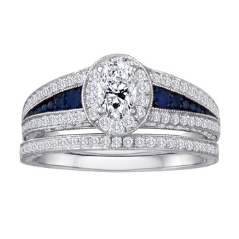 14KW 1.10CTW OVAL CTR WITH SAPPHIRE BRIDAL SET