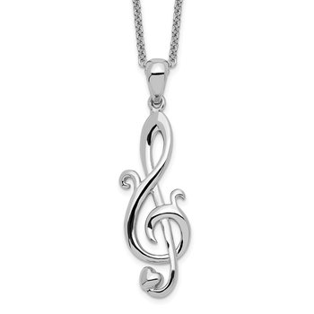 Sterling Silver Love Note 18in Necklace