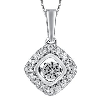 Dancing Diamond Cushion-Shaped Pendant in 14K White Gold with Chain