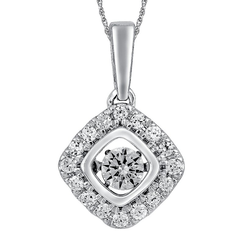 SDC Creations Dancing Diamond Cushion-Shaped Pendant in 14K White Gold with Chain