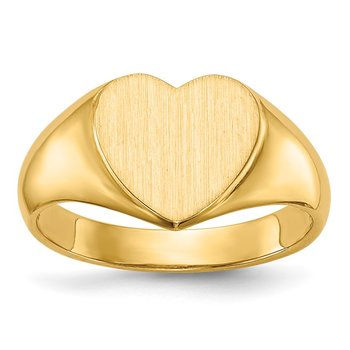 14k 9.5x9.5mm Open Back Heart Signet Ring