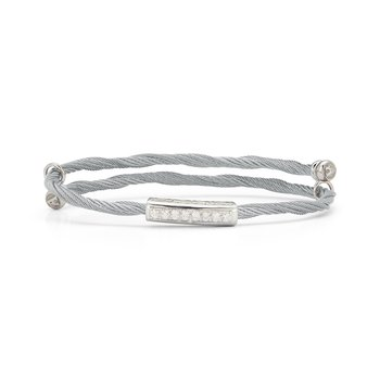 Grey Cable Flex Size Bracelet with Bar Diamond Station set in 18kt White Gold