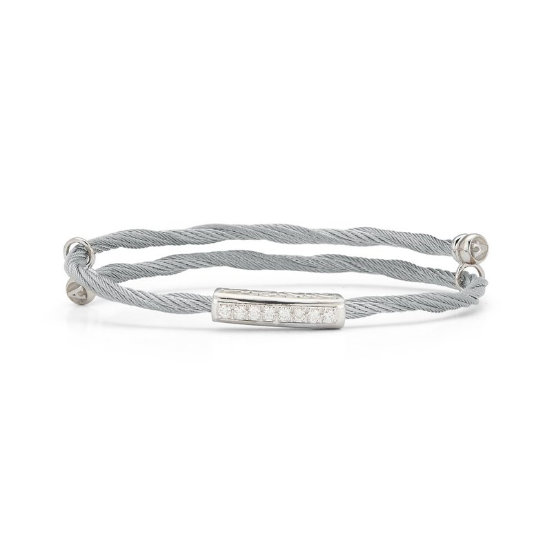 ALOR Grey Cable Flex Size Bracelet with Bar Diamond Station set in 18kt White Gold