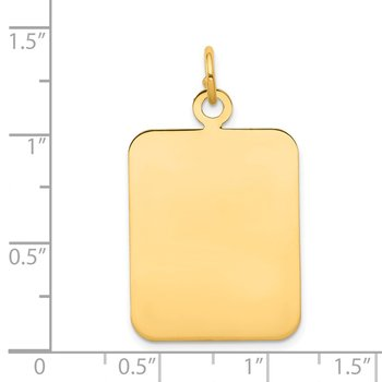 14k Plain Rectangular .035 Gauge Engravable Disc Charm