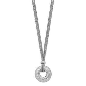 Sterling Silver Rhodium-plated Brushed/Polished 2 Strand Circle Necklace