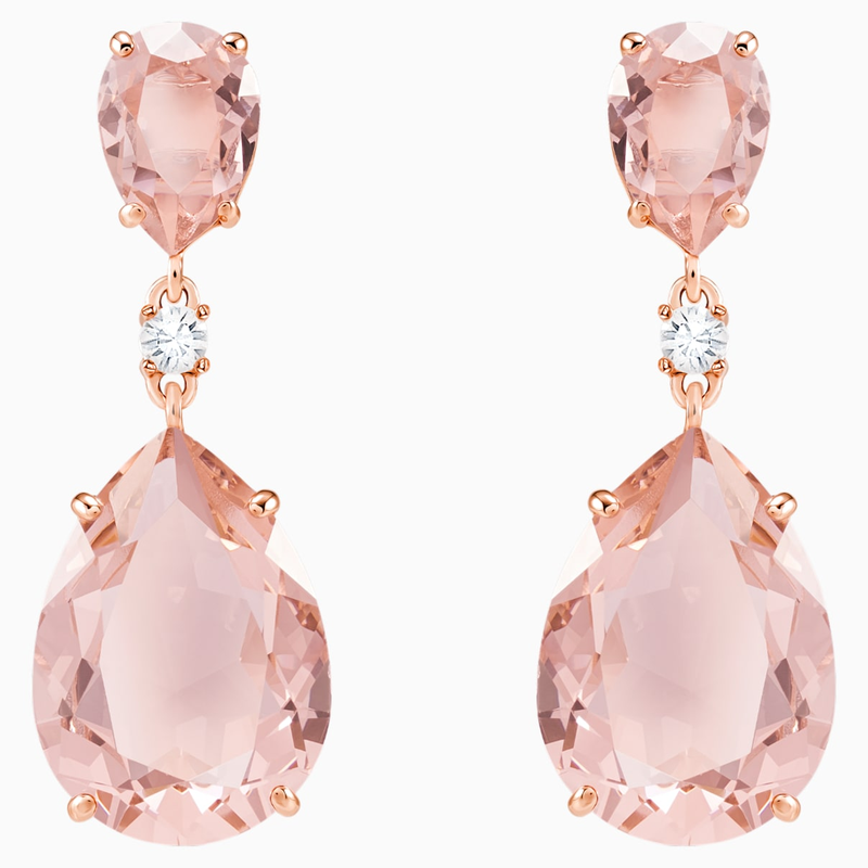 Swarovski Vintage Drop Pierced Earrings, Pink, Rose-gold tone plated