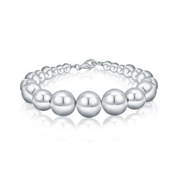 Silver Electroform Smooth Pearls Bracelet