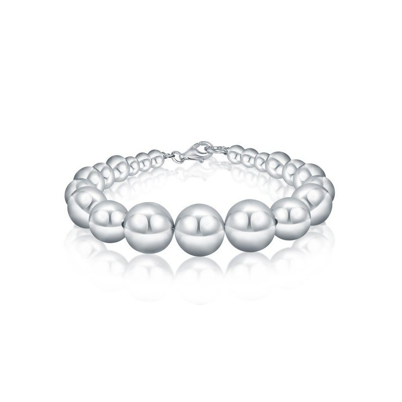 LARUS Jewelry Silver Electroform Smooth Pearls Bracelet