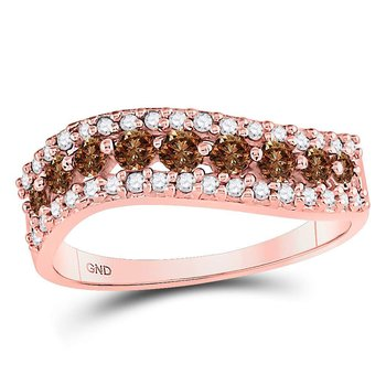 10kt Rose Gold Womens Round Brown Color Enhanced Diamond Contoured Band Ring 3/4 Cttw