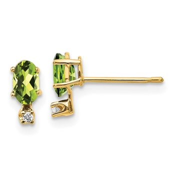 14k Diamond & Peridot Birthstone Earrings