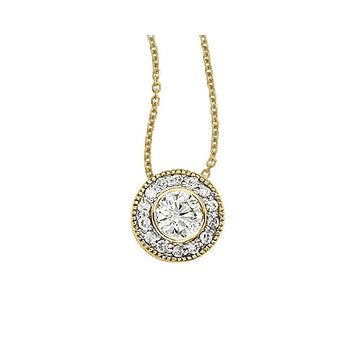 14K Yellow Gold .68 Ct Round Diamond Bezel Pendant
