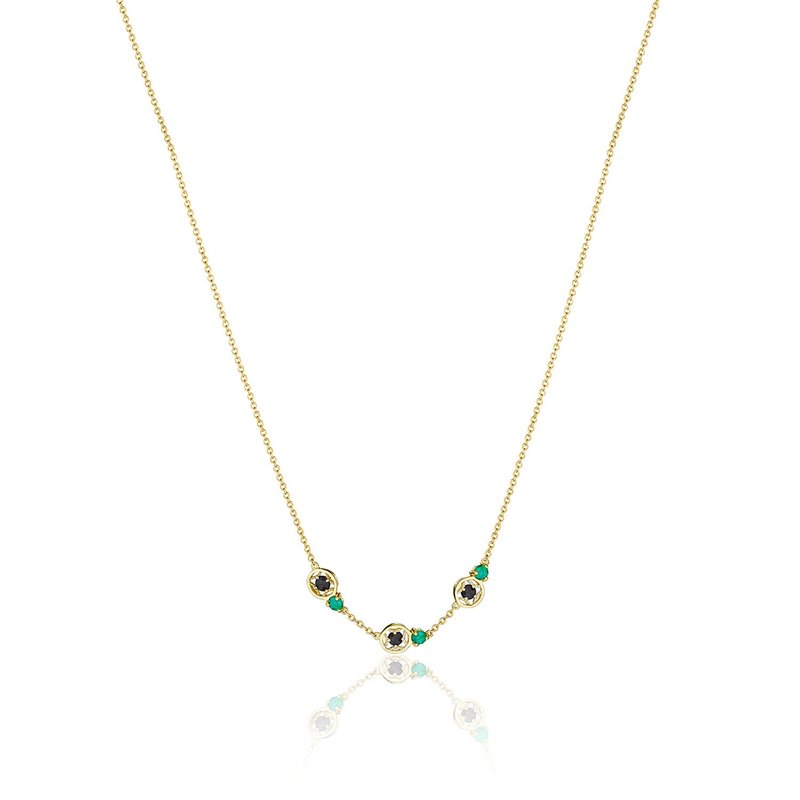 Tacori Fashion Petite Gemstone Necklace with Black and Green Onyx