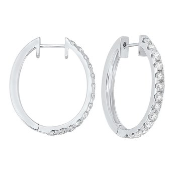 Prong Set Diamond Hoop Earrings in 14K White Gold (2 ct. tw.) SI2 - G/H