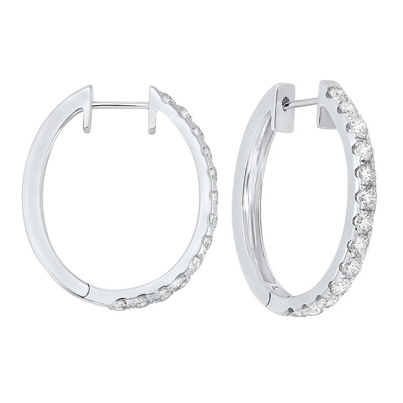 Gems One Prong Set Diamond Hoop Earrings in 14K White Gold (2 ct. tw.) SI2 - G/H