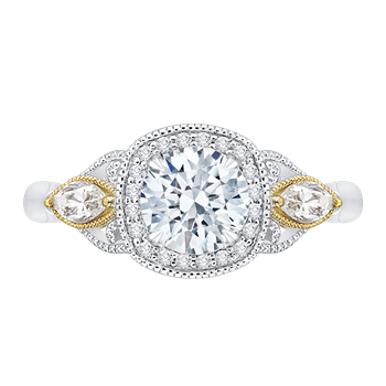 14K Tow-Tone Gold Round Diamond Halo Engagement Ring (Semi-Mount)