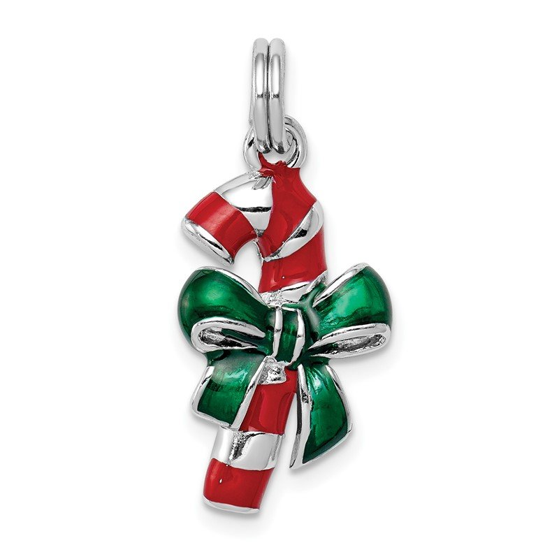 Lester Martin Online Collection Sterling Silver Rhodium-platedEnamel Candy Cane Charm