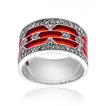 Wide Red Enamel Ring