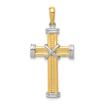 14k Two-tone Fancy Cross Pendant