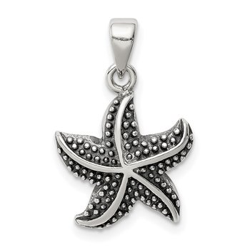Sterling Silver Antiqued Star Fish Pendant