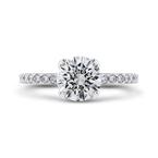 Carizza 14K White Gold Round Diamond Classic Engagement Ring (Semi-Mount)