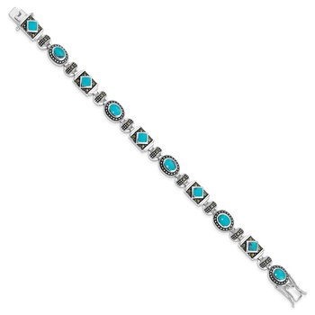 Sterling Silver Rhodium-plated Synth Turquoise and Marcasite Bracelet