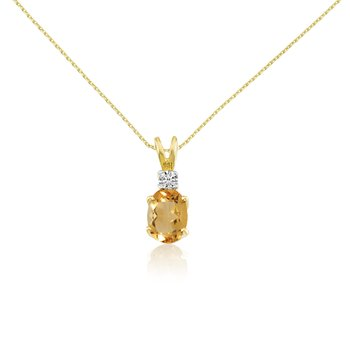 14k Yellow Oval Citrine and Diamond Pendant