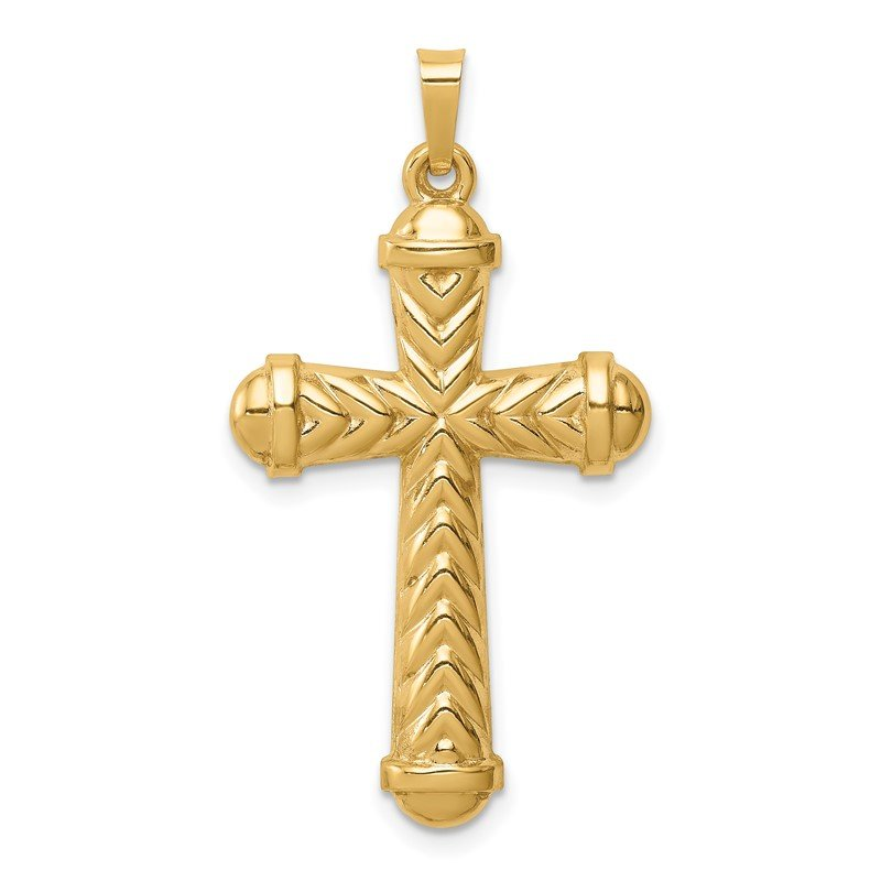 Quality Gold 14k Hollow Polished Chevron Design Cross