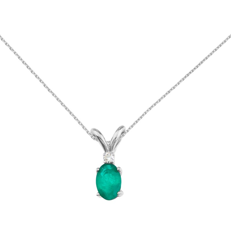 Color Merchants 14k White Gold Emerald and Diamond Oval Pendant
