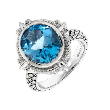 Sterling Silver Fleur de Lis Design Blue Topaz Ring