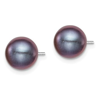 Sterling Silver Rh-plated 8-9mm Black FW Cultured Round Pearl Stud Earrings