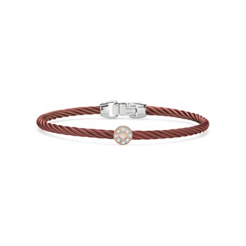 Burgundy Cable Essential Stackable Bracelet with Single Round Diamond station set in 18kt Rose Gold