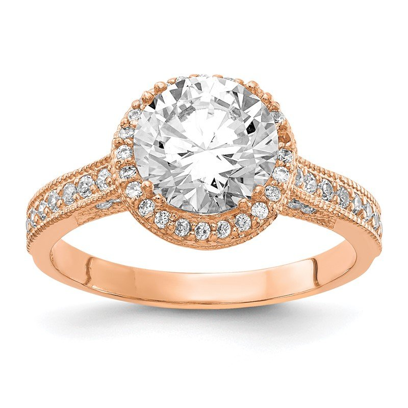 Quality Gold 10K Tiara Collection Rose Gold Polished CZ Ring