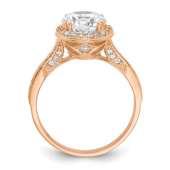 10K Tiara Collection Rose Gold Polished CZ Ring