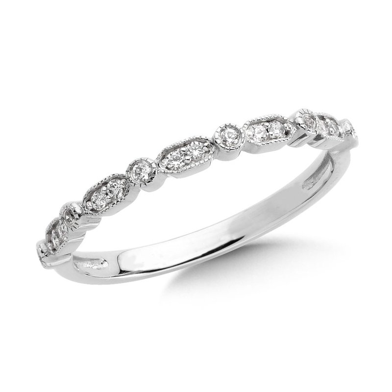 SDC Creations Pave set Diamond Open Heirloom Design Stackable, Anniversary Ring set in 14k White Gold (1/4ct. tw.) HI/I1