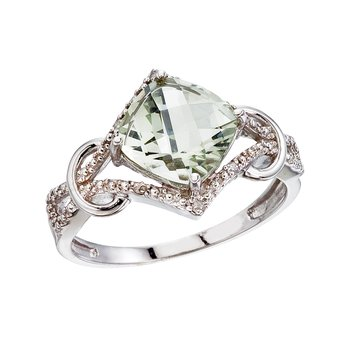 14K White Gold Green Amethyst and Diamond Cushion Ring