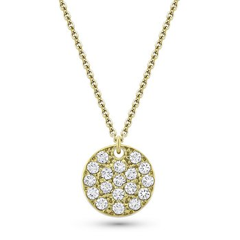 Diamond Large Disc Necklace in 14k Yellow Gold with 18 Diamonds weighing .85ct tw.