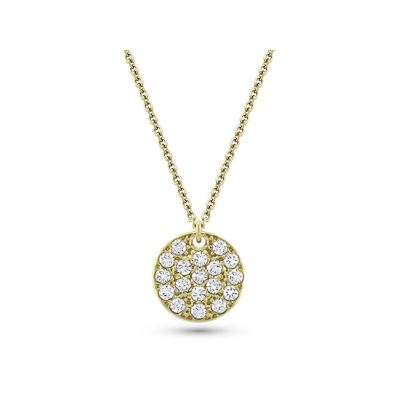 KC Designs Diamond Large Disc Necklace in 14k Yellow Gold with 18 Diamonds weighing .85ct tw.