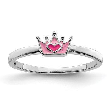Sterling Silver Rhodium-plated Childs Enameled Pink Crown Ring