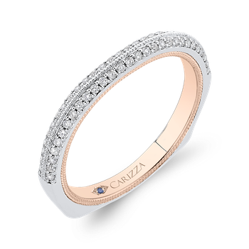 14K Two-Tone Gold Round Cut Diamond Half-Eternity Wedding Band