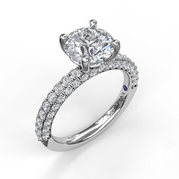 Round Cut Solitaire with Diamond-Enhanced Band