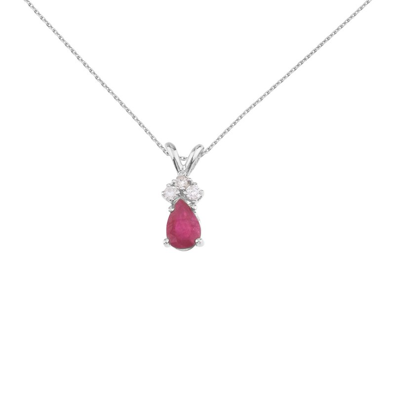 Color Merchants 14K White Gold Pear Shaped Ruby Pendant with Diamonds