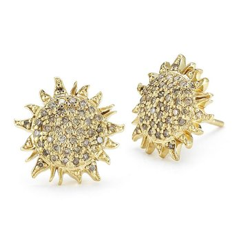 18Kt Gold Sun Earrings With Brown Diamonds