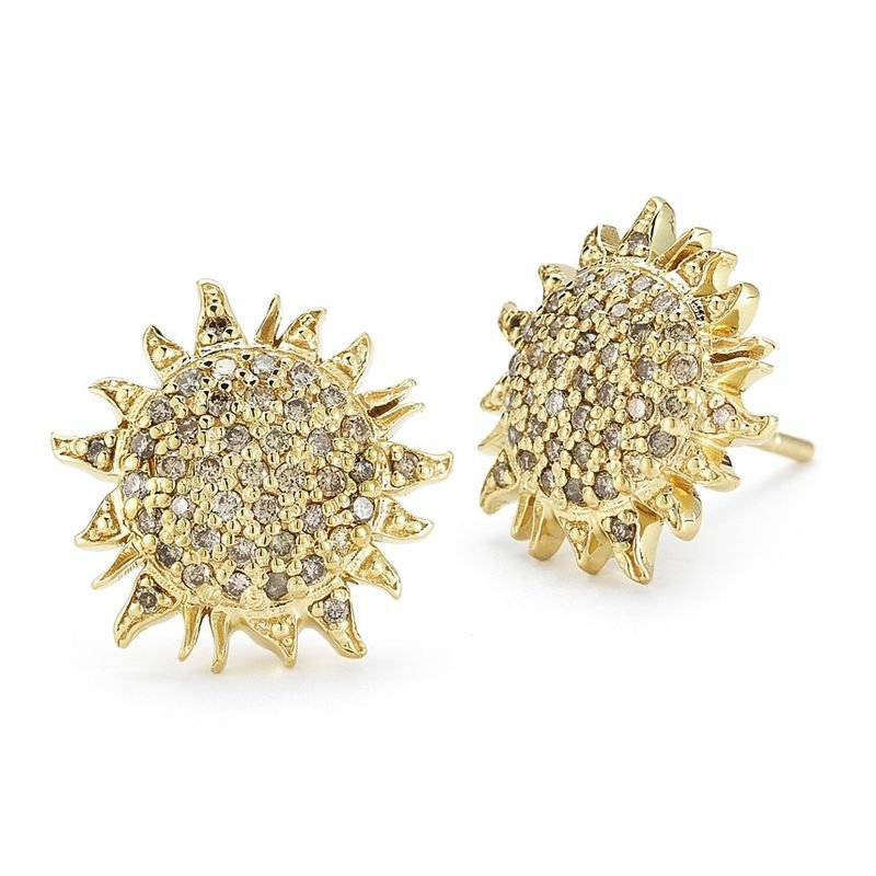 Roberto Coin 18KT GOLD SUN EARRINGS WITH BROWN DIAMONDS